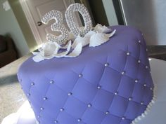 Purple 30th Birthday - Made this cake for my best friend's surprise birthday party.  Used her favorite colour purple. Covered in fondant, silver dragees, and topped with white 'feathers' and the number 30 cut from gumpaste.  Thanks for looking!