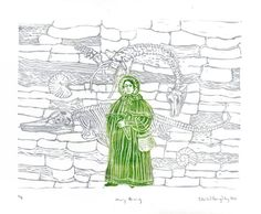 Mary Anning and Fossil Cliffs Linocut History of by minouette, $35.00