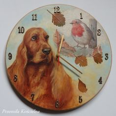 Painted clock, Dog portrait, Cocker Spaniel & Bird, original oil painting, hand painted wall decor, unique gift for pet lover by CanisArtStudio on Etsy