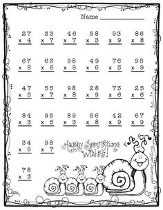 Spring Double Digit Multiplication With Regrouping, Two Digit Multiplication Math Practice Worksheets, School Worksheets, Worksheets For Kids, Math Stations, Math Centers, Two Digit Multiplication, Teacher Helper, Math Task Cards, Math Practices