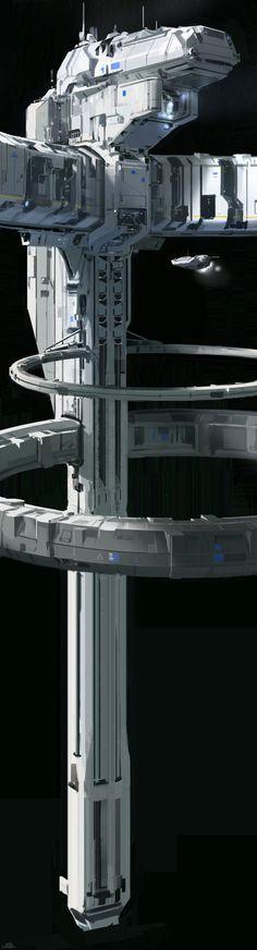 Halo 5 space station - concept 2, sparth . on ArtStation at https://www.artstation.com/artwork/41rN1