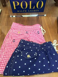 Pink checked and navy dots swim shorts by Polo Ralph Lauren. Swim Shorts, Summer 2016, Polo Ralph Lauren, Dots, Swimming, Navy, Pink, Fashion, Stitches