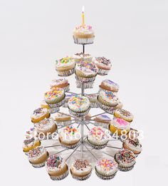 High-quality metal cupcake stand christmas stree with 5 tiers to hold 41 mini cupcakes $60.00 Christmas Cupcakes, Mini Cupcakes, Merry Christmas, Metal, Party, Desserts, Food, Christmas Biscuits, Merry Little Christmas
