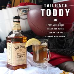 Keep your squad's spirits up when the temperature drop with the Tailgate Toddy. Combine 1 part Jack Honey, 1 part hot water, 1 lemon tea bag, and garnish with lemon. Liquor Drinks, Whiskey Cocktails, Cocktail Drinks, Alcoholic Drinks, Bourbon Drinks, Cocktail Recipes, Refreshing Drinks, Fun Drinks, Yummy Drinks