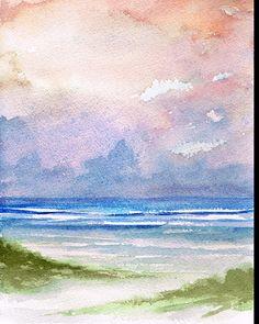 """Seashore Sunset"" Watercolor"