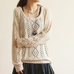Korean Japanese Style E3357-2013 women's loose o-neck long-sleeve rhombus…