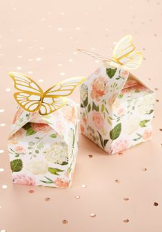Have you ever seen a favor box that's so beautiful? Fill these beautiful gable boxes with treats or candies and place them on guest tables and you'll have great party décor too! | Butterfly Floral Favor Box (Set of 12) | My Wedding Favors | #favorbox #butterfly