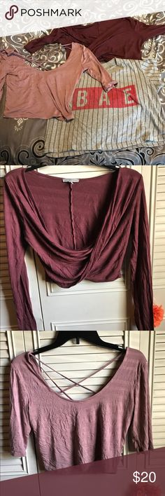 3 for $20 cropped tops Never worn the pink one, purple and striped only worn once. Making room for my new wardrobe Charlotte Russe Tops Crop Tops