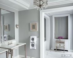 Bathroom designed by Nate Berkus and Anne Coyle. Picture from Elle Decor. Who doesn't love Nate Berkus' designs? Best Gray Paint Color, Best Neutral Paint Colors, Wall Paint Colors, Interior Paint Colors, Wall Colours, Interior Painting, Accent Colors, Garage Paint Colors, Neutral Tones