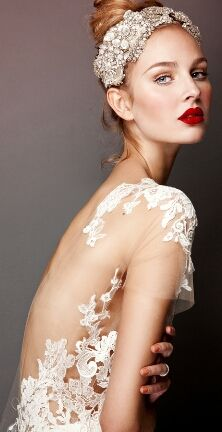 We love this model's bridal look! Red lips, backless lace gown, and a detailed hairpiece are perfect for a Winter Wedding. Courtesy of: Errico Maria 2013 Bridal Collection by Belle The Magazine Wedding Makeup Tips, Bridal Makeup, Bridal Lipstick, Bridal Gowns, Wedding Gowns, Lace Wedding, Wedding Headband, Chanel Wedding, Bhldn Wedding