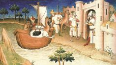 'Marco Polo With Elephants and Camels Arriving at Hormuz on the Gulf of Persia from India' Painting World Menagerie Format: Wrapped Canvas, Size: India Painting, Painting Prints, Canvas Prints, Camel Animal, Great Poems, India Art, Marco Polo, Expositions, A Whole New World