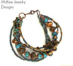 Seattle rains. Multi strand bracelet. Bohemian jewelry. Copper, blue, brown earthy bracelet. Seed beads, Czech Picasso glass
