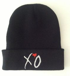 Weeknd X♡O beanie hat Black beanie, White embroidery, Heart always red Professionally embroidered by  The Tshirt Shop We can do any colour Beanies and any colour embroidery. Please contact after purchase if you want different colours or choose an option listed.
