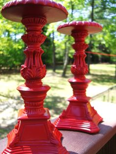 Country Red Candle Holders-8""