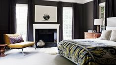A dark wall can make your bedroom the most relaxing place // Bedrooms