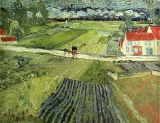 Vincent van Gogh, Landscape with carriage and train,1890.
