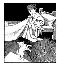Ardan wakes up and finds a baby goat pooka dancing on the floor in the moonlight - Ardan's Pooka by Ella Young Dorothy Lathrop Baby Goats, Children's Literature, Vintage Children, Book Publishing, Bedtime, Childrens Books, Illustrators, Sheep, Fairy Tales