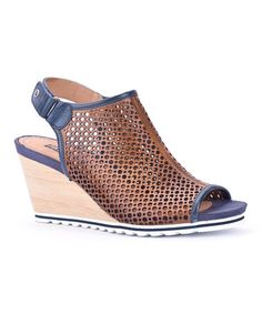 Look at this #zulilyfind! Navy & Brandy Bali Leather Wedge Sandal #zulilyfinds