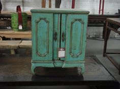 Asian Inspired Side Table Nightstand in Turquoise Blue Los Angeles by housecandyla, $399.00