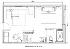 People get lost in square footage debates. Here is a 344 sq. Hyatt Hotel suite layout that would work for a studio apt. Studio Apartment Layout, Studio Layout, Small Apartment Interior, Small Apartment Design, Small Room Design, Small Apartments, Studio Apt, Lofts, The Plan