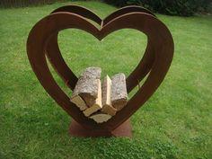 Herz in edelrost gartendeko geschenkidee terasse rost for Gartendeko aus stein und metall