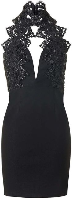 Womens black cut-out lace mini dress by rare from Topshop - £49 at ClothingByColour.com