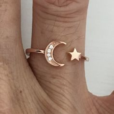 Rose Gold Plated Sterling Silver Moon and Star CZ Ring