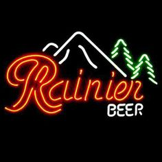Rainier Beer Bar Open Neon Signs///How I love you neon signs , Real nice for my Home Bar Deco