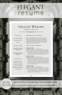 Resume Template Microsoft Word  Instant Download Resumefoundry