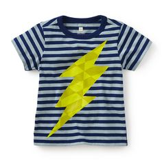 "Tea SS16 Fulmine Graphic Tee in nightfall - Fulmine means ""lightning bolt"" in Italian. he'll be styling up a storm in this fun tee. - $26.50"