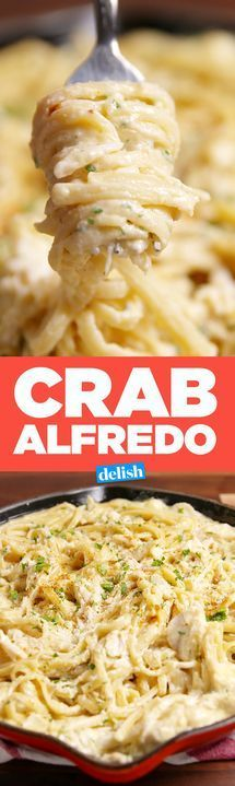 Red Lobster fans, you must try our copycat Crab Alfredo. Get the recipe from Delish.com. #seafoodrecipes