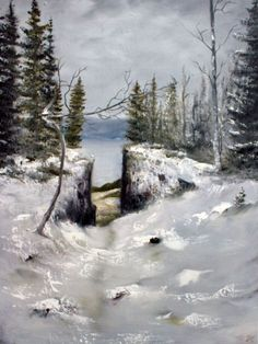 Buy Mørkgonga - The Dark Hallway, Oil painting by Heidi Irene Kainulainen on Artfinder. Discover thousands of other original paintings, prints, sculptures and photography from independent artists. Paintings For Sale, Original Paintings, Dark Hallway, The Darkest, My Photos, Sculptures, My Arts, Snow, River