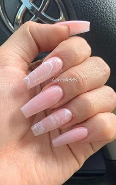 Acrylic Nails Coffin Pink, Summer Acrylic Nails, Coffin Nails Long, Summer Nails, Marble Nails, Pink Marble, Pink Acrylics, Long Nails, Neutral Acrylic Nails