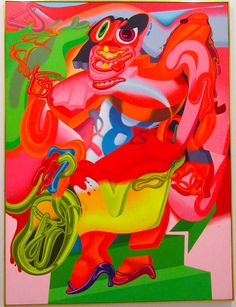 Peter Saul, de Kooning's Woman With Bicycle