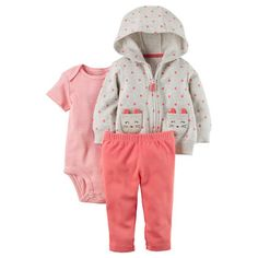 Carter's 3 Piece Grey Polka Dot Printed Zip Up Hoodie, White/Pink Striped Bodysuit and Pink Pant Set Carters Baby Girl Clothes, Baby & Toddler Clothing, Baby Girls, Baby Outfits, Kids Outfits, Baby Set, Pants Outfit, Outfit Sets, Owl Hoodie