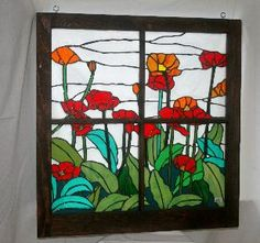 stained glass window clip art | Stained Glass Windows created with vintage recycled windows