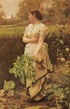 """Picking Turnips"", by Robert Cree Crawford (1842-1924). #art #Victorian #classic #woman #painting"