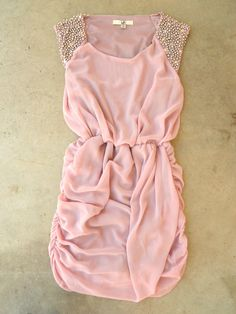 Gathered Facets Pink Cocktail Party Dress. Bridesmaids dress?