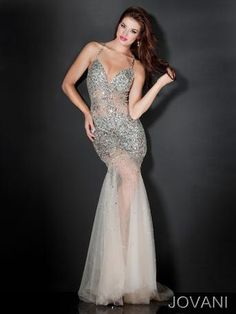 ad44b389c8001 #Jovani 4387 naked nude all bling amazing #prom dress www.pzazdresses.com