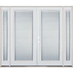 Wide Internal Miniblind Full Lite Steel Patio Prehung Double Door Unit With  Sidelites