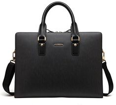 Trending New Briefcases & Laptop Bags: BOSTANTEN Leather Lawyers Briefcase Shoulder Laptop Business Bags for Men & Women Black,
