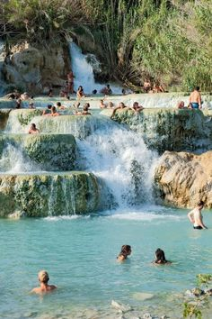 The Terme di Saturnia (in Tuscany, Italy) are a group of springs located in the municipality of Manciano, a few kilometers from the village of Saturnia. The sulphurous spring water, at a temperature of 37.5 °C, are well-known for their therapeutic properties, offering relaxation and well being through immersion.