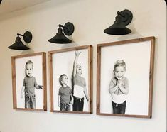 DIYd Engineered prints of our babies on the basement stairwell wall is comple Stairwell Wall, Staircase Wall Decor, Stairwell Decorating, Basement Staircase, Large Photo Prints, Flur Design, Engineer Prints, Black And White Canvas, Black And White Picture Wall