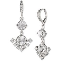 Givenchy Crystal Double Drop Earrings ($48) ❤ liked on Polyvore featuring jewelry, earrings, rhodium, givenchy earrings, crystal jewellery, givenchy jewelry, crystal drop earrings and givenchy