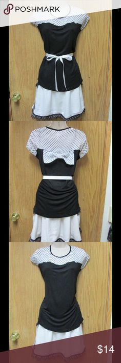 Fancy Black/White Top W/Cute Bow on the Back &Belt This blouse is really cute and adorable. Soft and comfy. Stretchy material. Bow ornament attached on the back. Polka dots fabric on the top. Belt included. Size XL - Almost New. Save $$$ on bundles. Tops