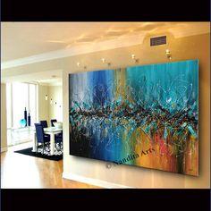 Painting Jackson Pollock Art Luxury Style Abstract Wall Art Original Oil Painting on Canvas Blue Teal Acrylic Wall Art Decor by Nandita Teal Wall Art, Acrylic Wall Art, Abstract Wall Art, Wall Art Decor, Abstract Paintings, Oil Paintings, Wall Murals, Office Canvas Art, Dallas
