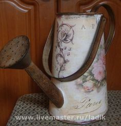Лейка Винтаж - лейка,винтажный стиль,для цветов,лейка декупаж,пионы,пастельные тона