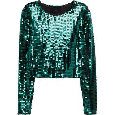 H&M Sequined crop top ($30) ❤ liked on Polyvore featuring tops, crop tops, petrol, h&m, sequin crop top, long sleeve sequin top, crop top and embroidered top
