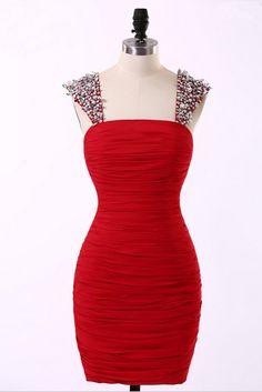 Sexy Strapless Homecoming Dress,Short Chiffon Red Party Homecoming Dress,Homecoming Dresses With Crystal