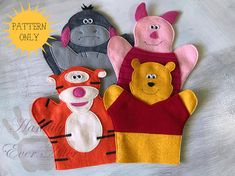 I DO NOT OFFER REFUNDS ON DIGITAL DOWNLOADS SO PLEASE READ THIS LISTING CAREFULLY BEFORE PURCHASING. YOU WILL NOT RECEIVE A PHYSICAL ITEM FROM THIS LISTING. This PDF sewing pattern is to make a Hundred Acre Woods Hand Puppet set. It includes patterns and instructions to make 4